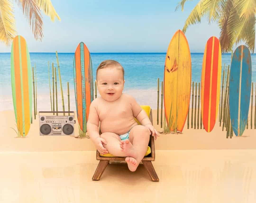 fotos criativas de bebe na praia