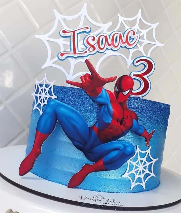 bolo homem aranha com glitter