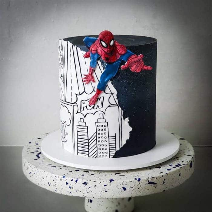 topo de bolo homem aranha de preto